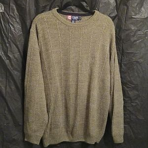 Chaps 100%  cotton green ribbed sweater